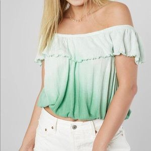 Free People ombré ruffle top green/white -S 💚